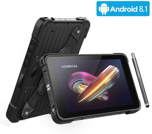 LOSRECAL Rugged Tablet Android 8.1 GMS Zebra 2D Android Barcode Scanner 8 Inch Industrial Tablet MIL-STD-810G IP67 WiFi NFC 4G GPS BT 8500mAh Android Tablet for Warehouse Management Field Mobile Work