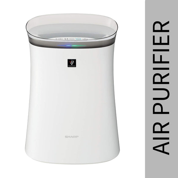 Sharp Air Purifier for Homes & Offices | Dual Purification - ACTIVE (Plasmacluster Technology) & PASSIVE FILTERS (True HEPA H14+Carbon+Pre-Filter) | Captures 99.97% of Impurities | Model:FP-F40E-W | White