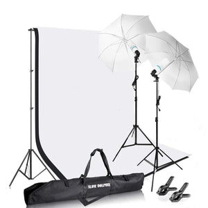 Slow Dolphin Photography Photo Video Studio Background Stand Support Kit with Muslin Backdrop Kits (White Black)