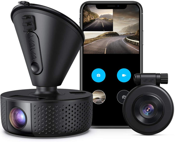 Dual Dash cam | VAVA Dual 1920x1080P FHD | Front and Rear dash camera | 2560x1440P Single Front| for cars with Wi-Fi | Night Vision | Parking Mode | G-sensor | WDR | Loop recording| Support 128GB Max