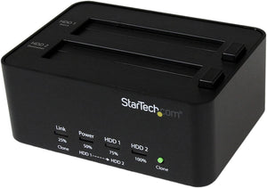"StarTech.com Dual Bay USB 3.0 Duplicator and Eraser Dock for 2.5"" & 3.5"" SATA SSD HDD - 1:1 Standalone Cloner & Wiper Docking Station (SATDOCK2REU3)"