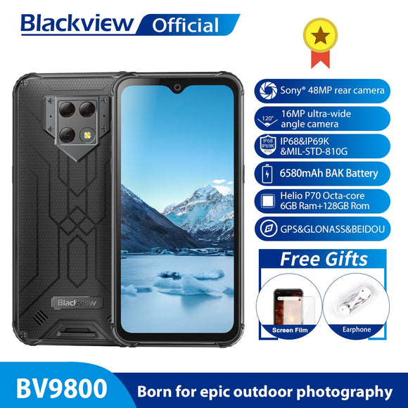 Blackview BV9800 Helio P70 Android 9.0 6GB+128GB Smartphone 48MP Rear Camera IP68 Waterproof 6580mAh 6.3