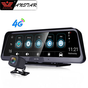 ANSTAR 10''  4G Dash Cam Android Dashboard Car Camera WiFi GPS ADAS Car DVR 1080P Video Recorder Registrar Auto Rear View Camera