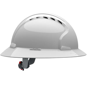 JSP Vented Full Brim Hard Hat with 6 Point Ratchet Suspension