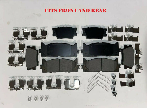 Ceramic Brake Pads Front And Rear For 2007-2017 Toyota Camry With Hardware