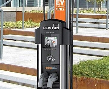Leviton - Evr - Green 4000 Public Charging Station - dual unit on bollard