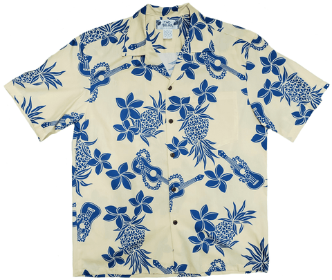 Ukulele Yellow Hawaiian Aloha Cotton Shirt