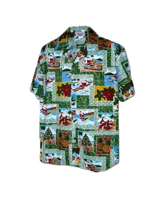 Aloha Mahalo Santa in Green - 100% Cotton ETA 12/15 - All Clothes Hawaiian