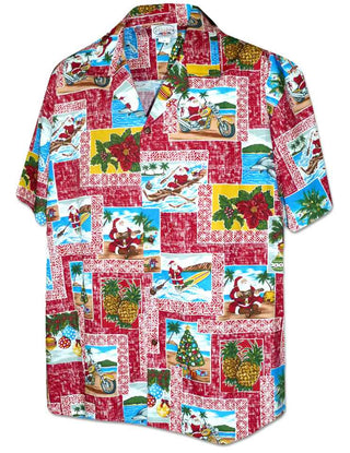 Aloha Mahalo Santa in Red - 100% Cotton - All Clothes Hawaiian