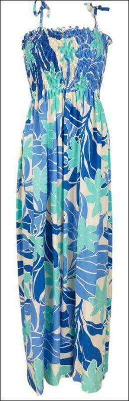 "Big Tiare Blue - 45"" Tube Top Dress - 100% Rayon - All Clothes Hawaiian"