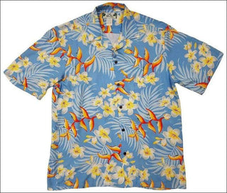 Bird of Plumeria Blue Hawaiian Rayon Shirt - All Clothes Hawaiian