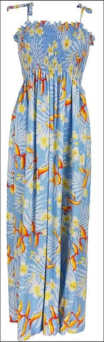 Bird of Plumeria Blue - Long Hawaiian Dress - 100% Rayon - All Clothes Hawaiian