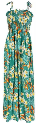 "Bird of Plumeria Green - 45"" Tube Top Dress - 100% Rayon - All Clothes Hawaiian"