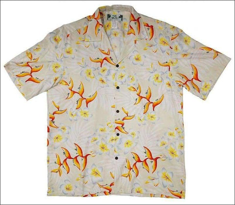 Bird Plumeria Cream Hawaiian Aloha Rayon Shirt - All Clothes Hawaiian