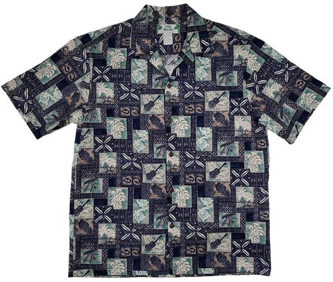 Block Hawaii Navy Aloha Cotton Shirt - All Clothes Hawaiian