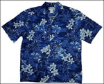 Blue Hawaii Dark Hawaiian Aloha Cotton Shirt - All Clothes Hawaiian