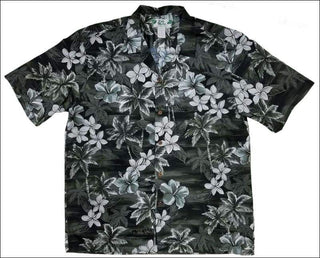 Blue Hawaii in Grey Hawaiian Aloha Cotton Shirt - All Clothes Hawaiian