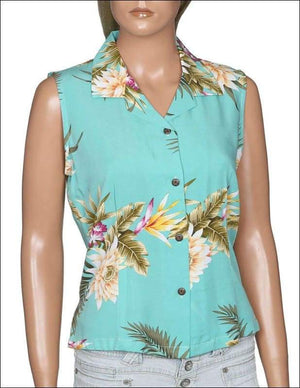 Ceres Green Sleeveless Hawaiian Aloha Rayon Blouse - All Clothes Hawaiian