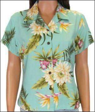 Ceres Green - Women's Blouse - 100% Rayon - All Clothes Hawaiian