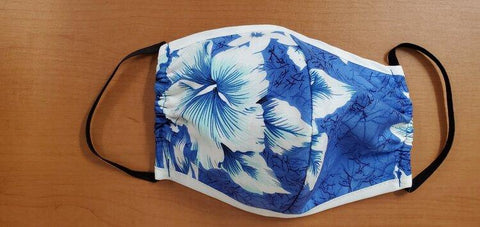 Crack Hibiscus Blue Mask - All Clothes Hawaiian