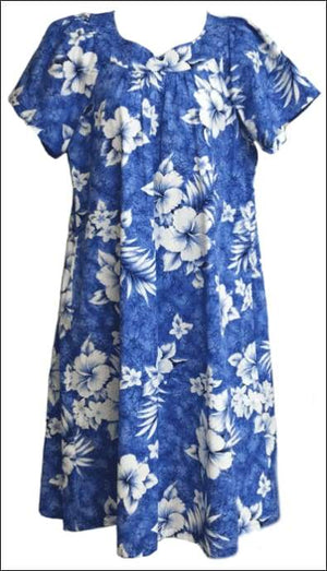 Crack Hibiscus Blue - MuuMuu Hawaiian Cotton Dress - All Clothes Hawaiian