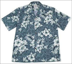 Crack Hibiscus Grey - Short Sleeve - 100% Cotton - All Clothes Hawaiian