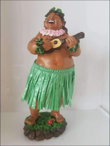 Dashboard Hula Boy with Ukulele - Green Skirt - All Clothes Hawaiian