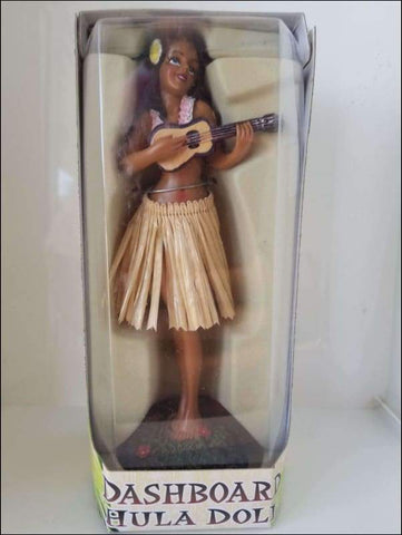 Dashboard Hula Girl with Ukulele - Natural Skirt - All Clothes Hawaiian