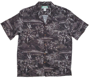 Etches of Hawaii Black Aloha Rayon Shirt - All Clothes Hawaiian