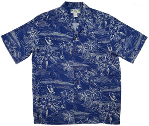 Etches of Hawaii Blue Aloha Rayon Shirt - All Clothes Hawaiian