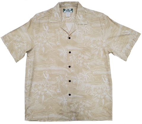 Etches of Hawaii Cream Aloha Rayon Shirt - All Clothes Hawaiian