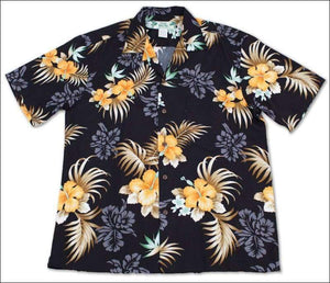 Fern Hibiscus Black Hawaiian Aloha Rayon Shirt - All Clothes Hawaiian