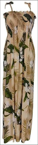 "Ginger Cream - 45"" Tube Top Dress - 100% Rayon - All Clothes Hawaiian"