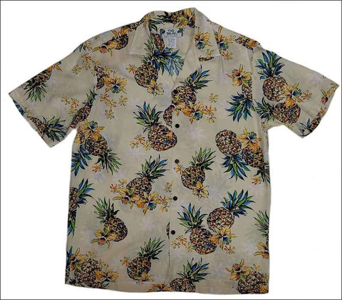 Golden Pineapple Cream Rayon Hawaiian Shirt - All Clothes Hawaiian