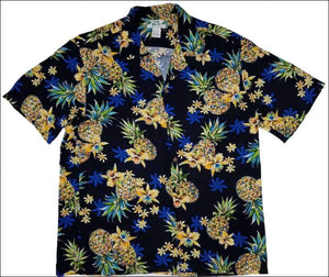 Golden Pineapple Navy Rayon Short Sleeve - All Clothes Hawaiian