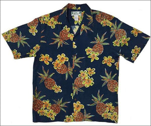 Hale Kahiki Navy Hawaiian Aloha Rayon Shirt - Still Avail? - All Clothes Hawaiian