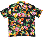 Happy Plumeria Black - 100% Rayon - All Clothes Hawaiian