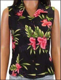 Hawaiian Orchid Fern Black - 100% Sleeveless Rayon - All Clothes Hawaiian