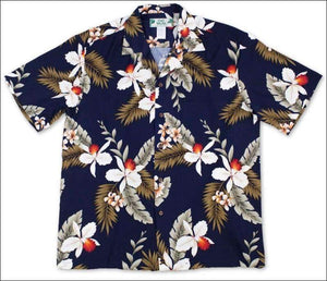 Hawaiian Orchid Navy Aloha Rayon Shirt - All Clothes Hawaiian