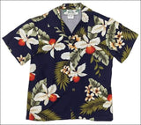 Hawaiian Orchid Navy - Boys Short Sleeve - 100% Rayon - All Clothes Hawaiian