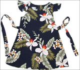 Hawaiian Orchid Navy - Girl's Dress - 100% Rayon - All Clothes Hawaiian