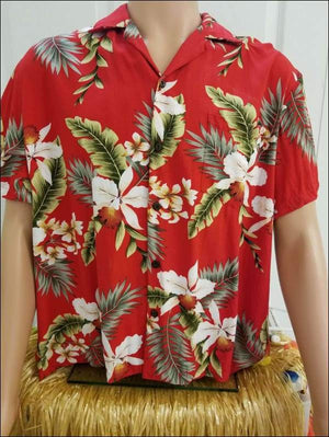 Hawaiian Orchid Red Aloha Rayon Shirt - All Clothes Hawaiian
