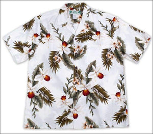 Hawaiian Orchid White Aloha Rayon Shirt - All Clothes Hawaiian