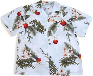 Hawaiian Orchid White - Boys Rayon Aloha Shirt - All Clothes Hawaiian