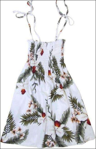 Hawaiian Orchid White - Girls Rayon Elastic Tube Top Dress - All Clothes Hawaiian