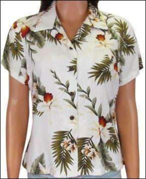 Hawaiian Orchid White - Women's Rayon Blouse - All Clothes Hawaiian