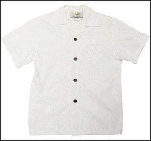 Hibiscus Panel White - Boys Short Sleeve - 100% Cotton - All Clothes Hawaiian