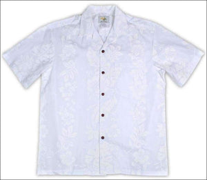 Hibiscus Panel White - Hawaiian Aloha Cotton Shirt - All Clothes Hawaiian