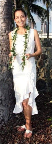 Hibiscus Panel White - Wedding Dress - 100% Cotton - All Clothes Hawaiian