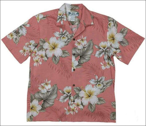 Hibiscus Trends Coral - 100% Cotton - All Clothes Hawaiian